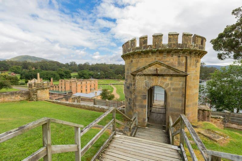 El guardia Tower en el puerto Arthur Tasmania imagen de archivo