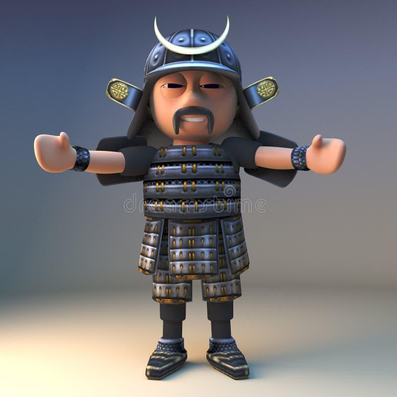 El guerrero honorable del samurai de Japanese le saluda con los brazos extendidos, ejemplo 3d stock de ilustración