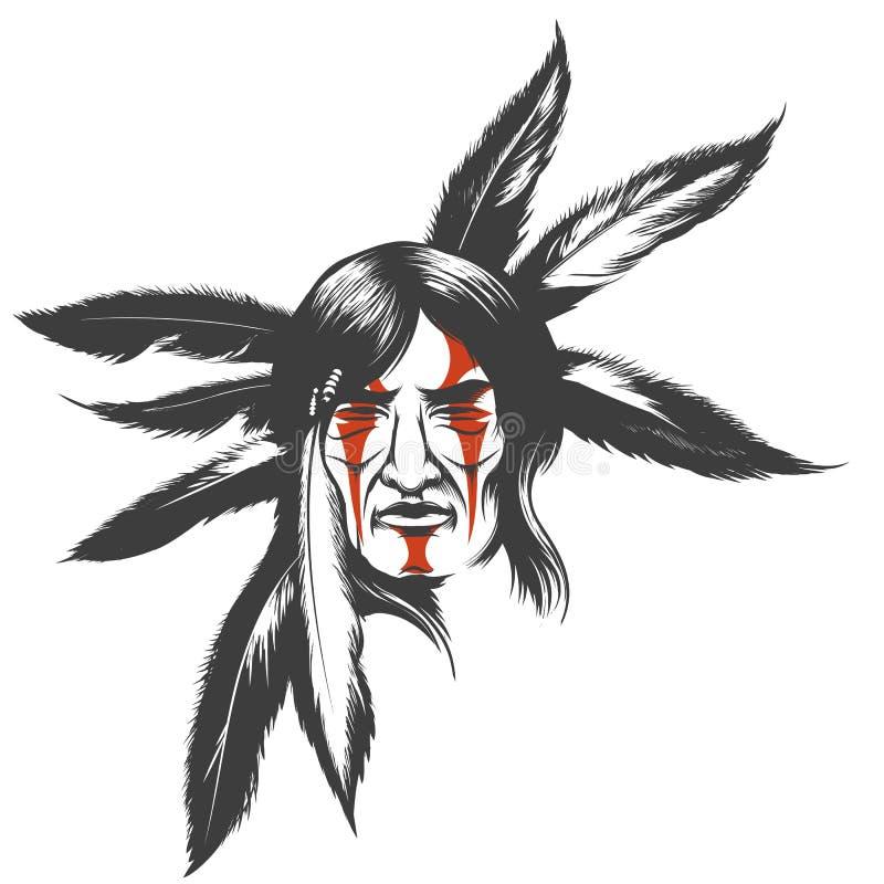 El guerrero indio en vestido del pelo de la pluma stock de ilustración