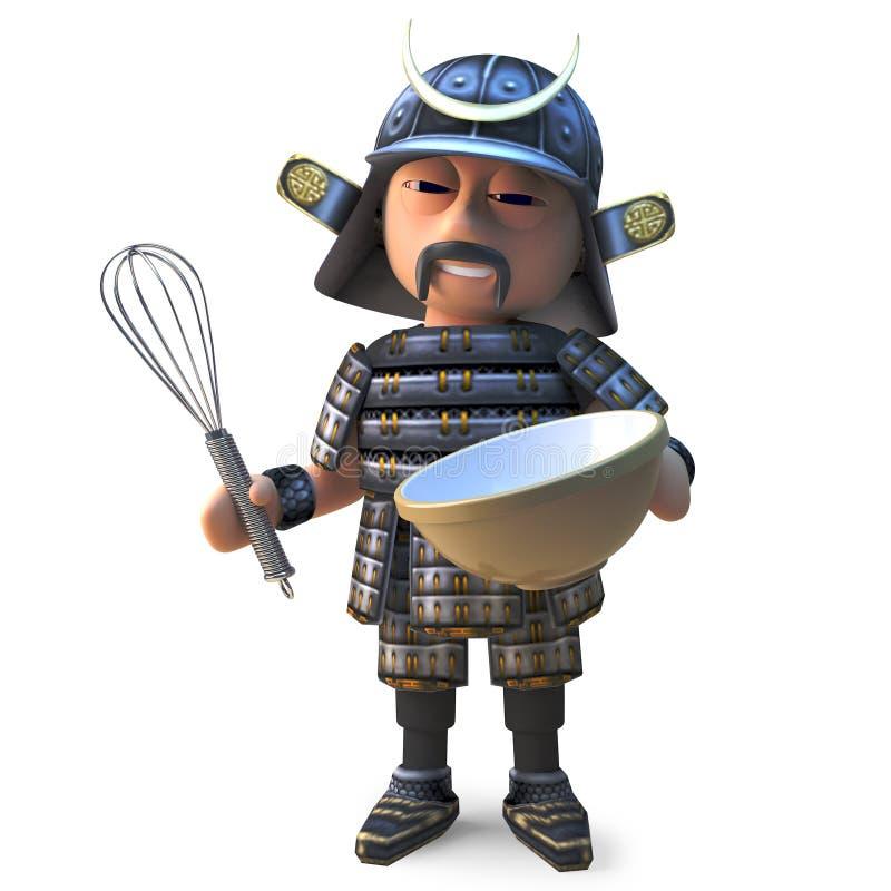 El guerrero japonés hambriento del samurai está haciendo una masa en su cuenco con un batidor, ejemplo 3d stock de ilustración