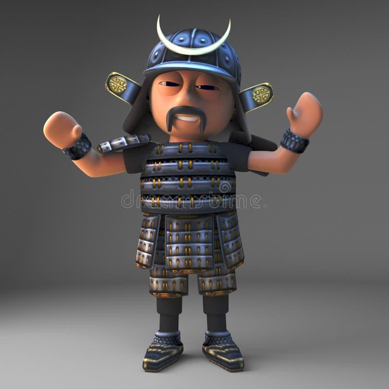 El guerrero japonés valiente del samurai con los brazos aumentó animar, ejemplo 3d ilustración del vector