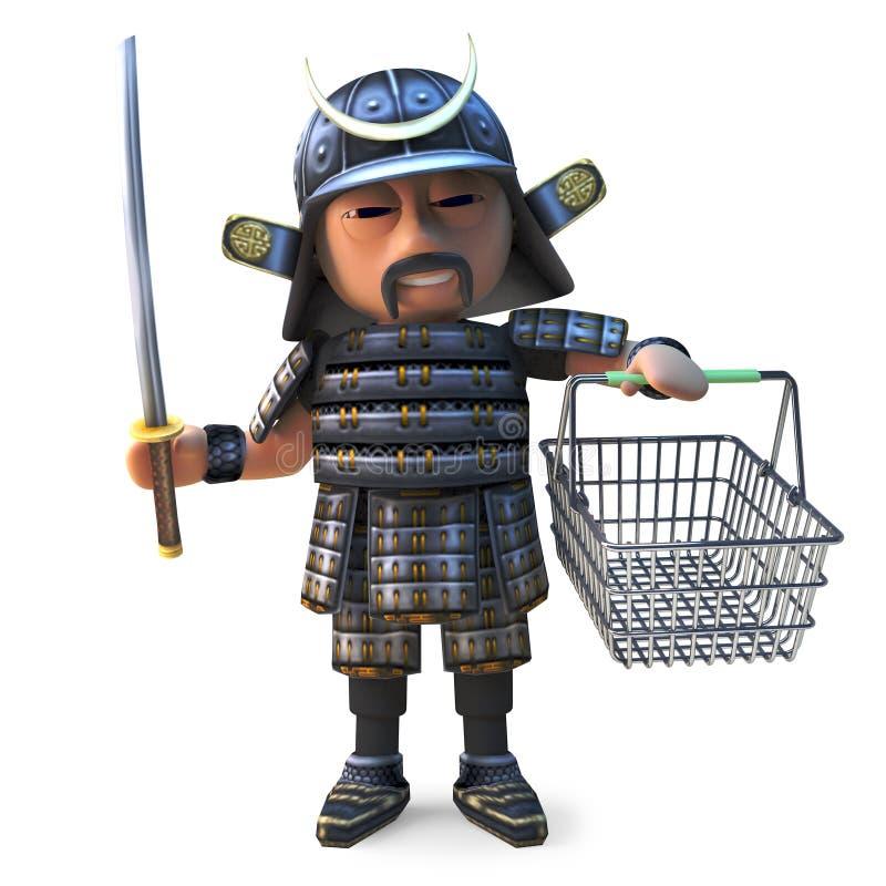 El guerrero japonés valiente del samurai va a hacer compras con su cesta, ejemplo 3d stock de ilustración