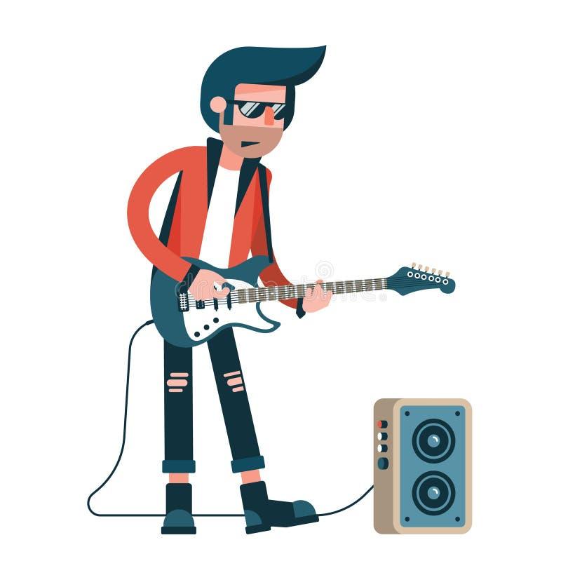 El guitarrista de la roca juega a solas en una guitarra eléctrica libre illustration