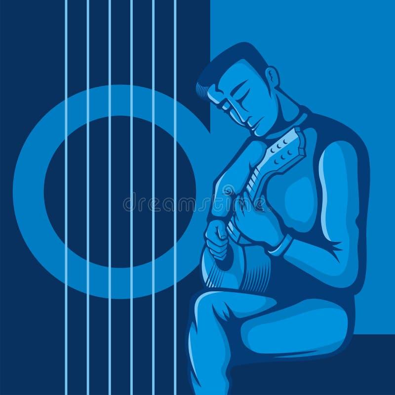 El guitarrista en azul stock de ilustración