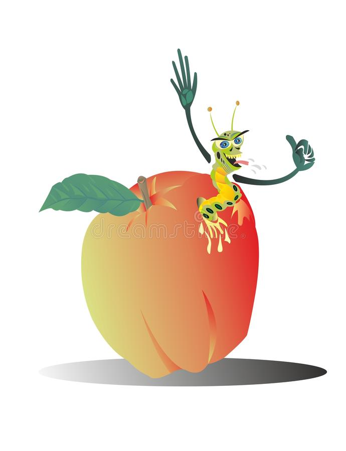 El gusano come una buena fruta de la manzana ilustración del vector
