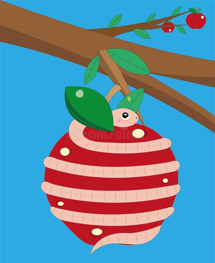 El gusano tuerce la manzana. stock de ilustración