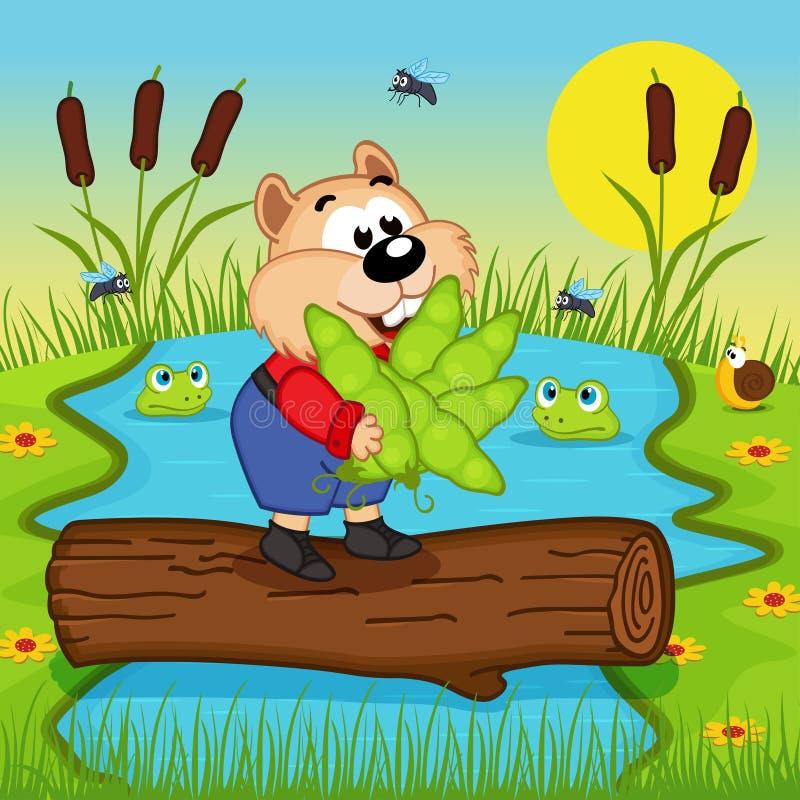 El hámster con los guisantes cruza el río stock de ilustración