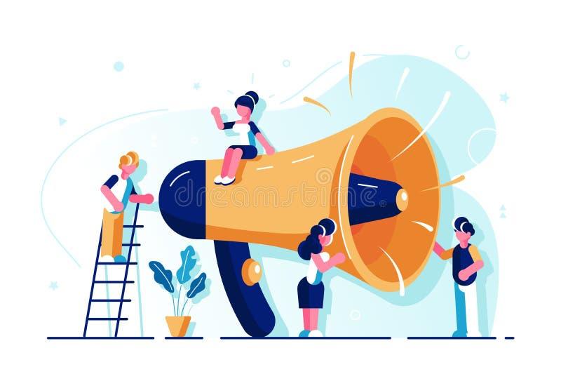 El hablar con la muchedumbre ilustración del vector