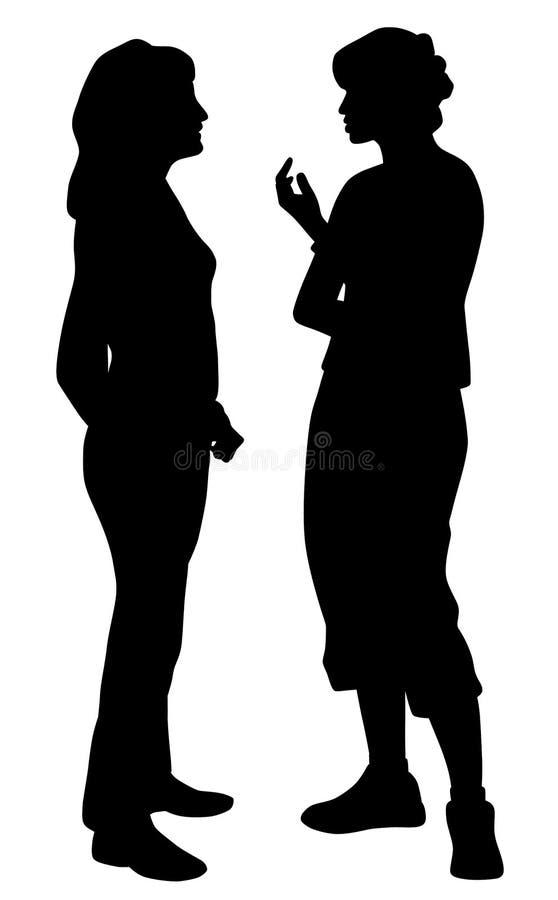 El hablar de dos amigos de las mujeres jovenes libre illustration