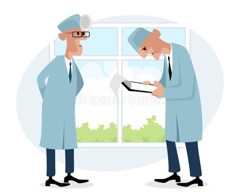 El hablar de dos doctores ilustración del vector
