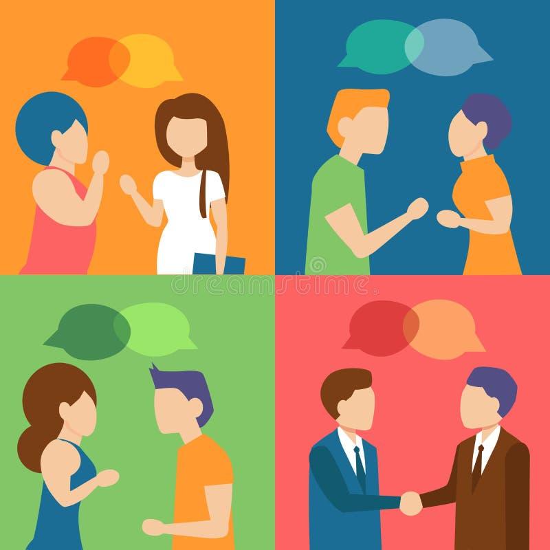 El hablar de la gente Encuentro, stock de ilustración