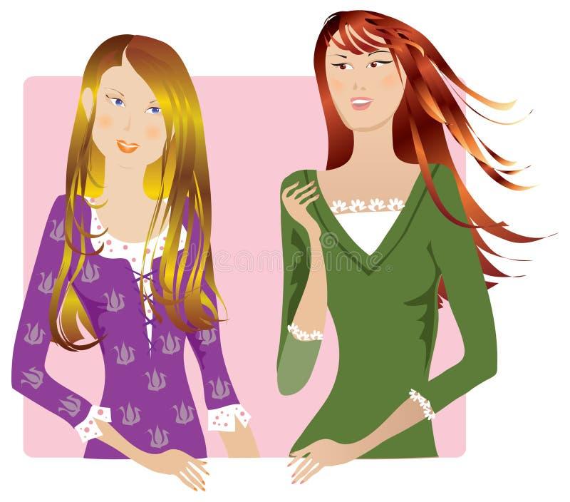 El hablar de las muchachas stock de ilustración