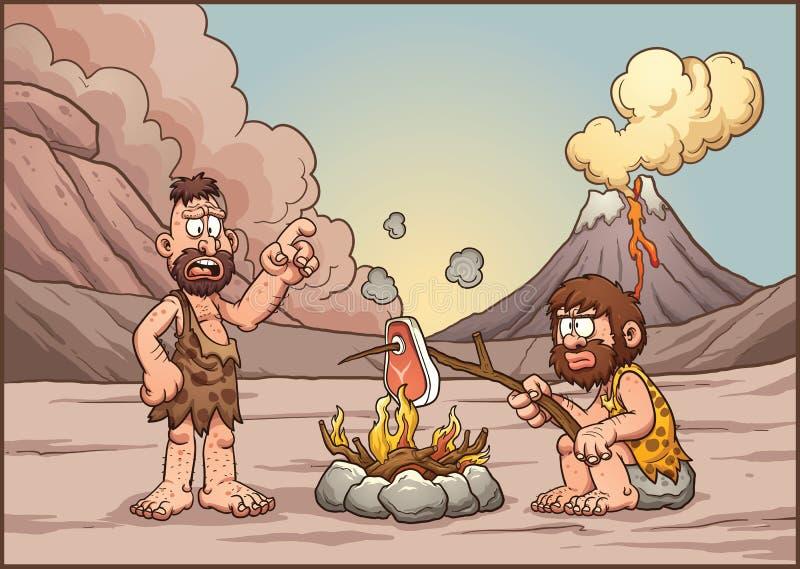El hablar de los hombres de las cavernas stock de ilustración