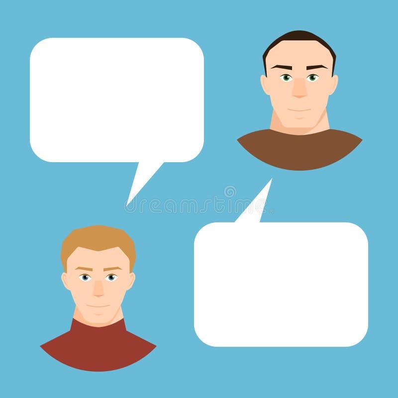El hablar de los hombres La gente del vector forma pares en las burbujas planas del discurso del diseño y del diálogo para el tex stock de ilustración