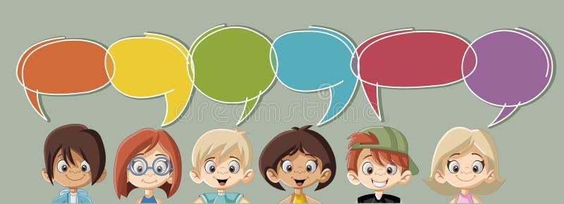 El hablar de los niños de la historieta stock de ilustración