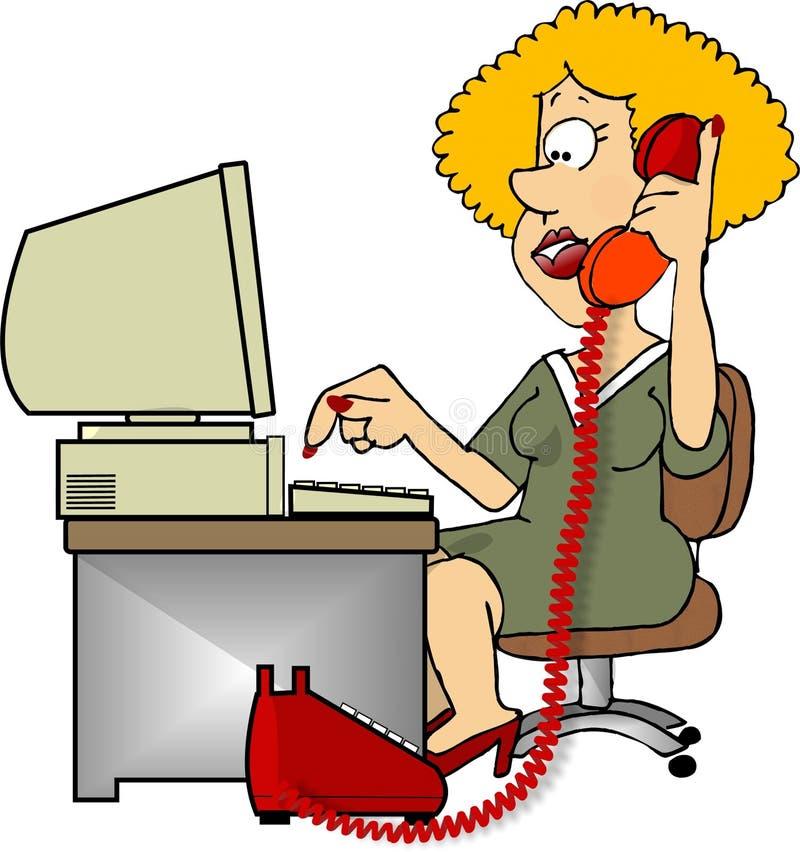 El hablar en el teléfono stock de ilustración