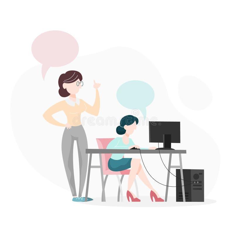 El hablar para dos personas en la oficina Sentada de la mujer stock de ilustración