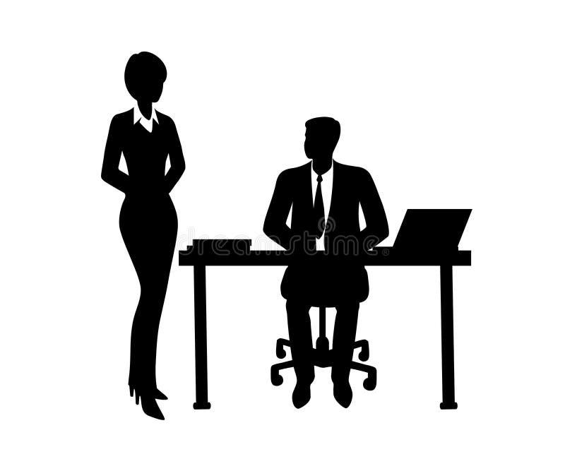 El hablar que se sienta del hombre de negocios con el empleado libre illustration