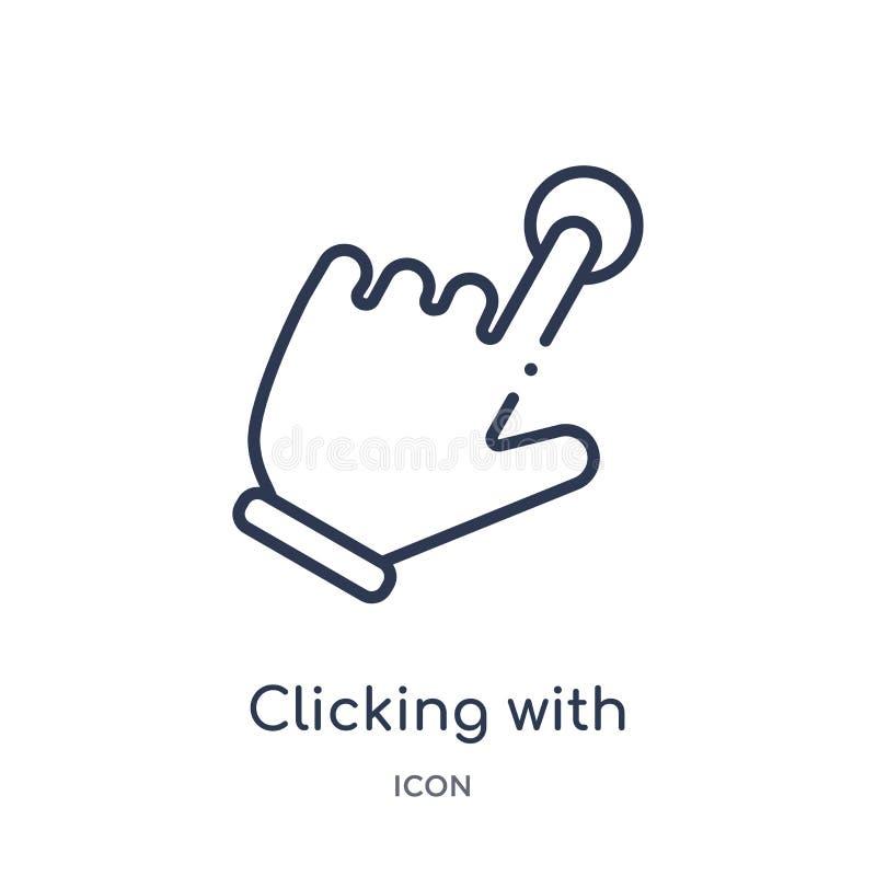 El hacer clic linear con el icono de la mano izquierda de las manos y de la colección del esquema de los guestures Línea fina que libre illustration