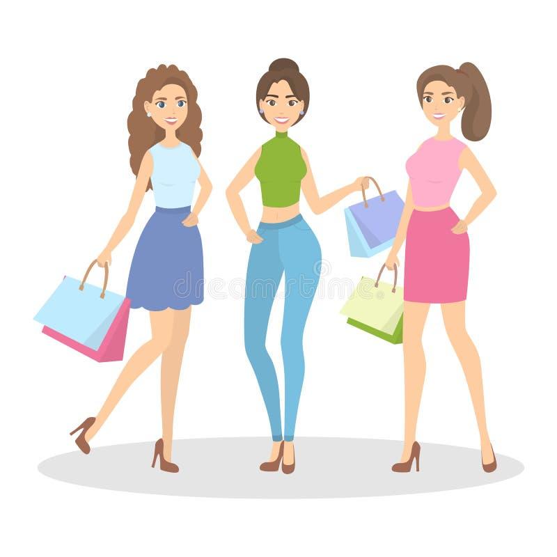 El hacer compras aislado de las mujeres libre illustration