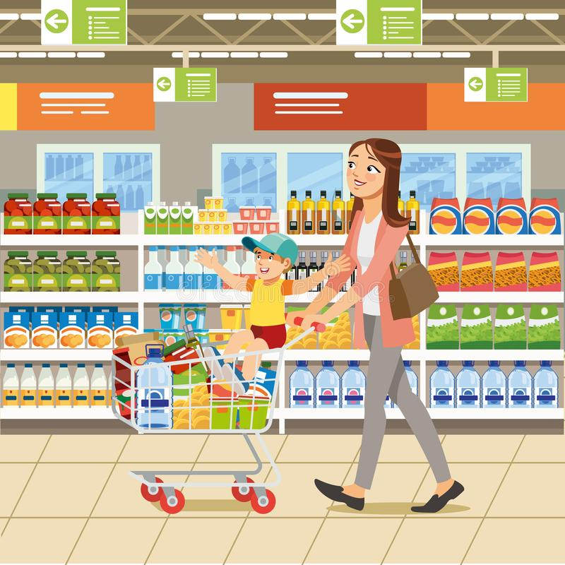 El hacer compras con concepto del vector de la historieta de la familia libre illustration