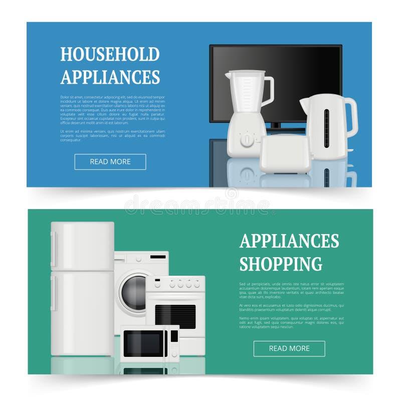 El hacer compras de los dispositivos Publicidad de la plantilla realista de las banderas de hogar del equipo de la cocina del vec stock de ilustración