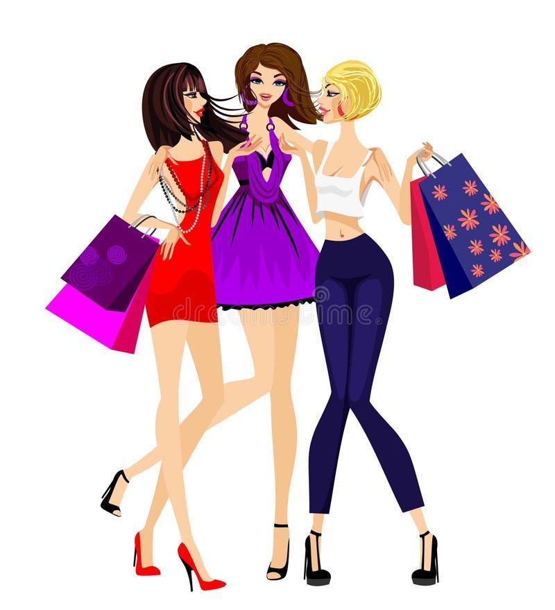 El hacer compras de tres muchachas ilustración del vector
