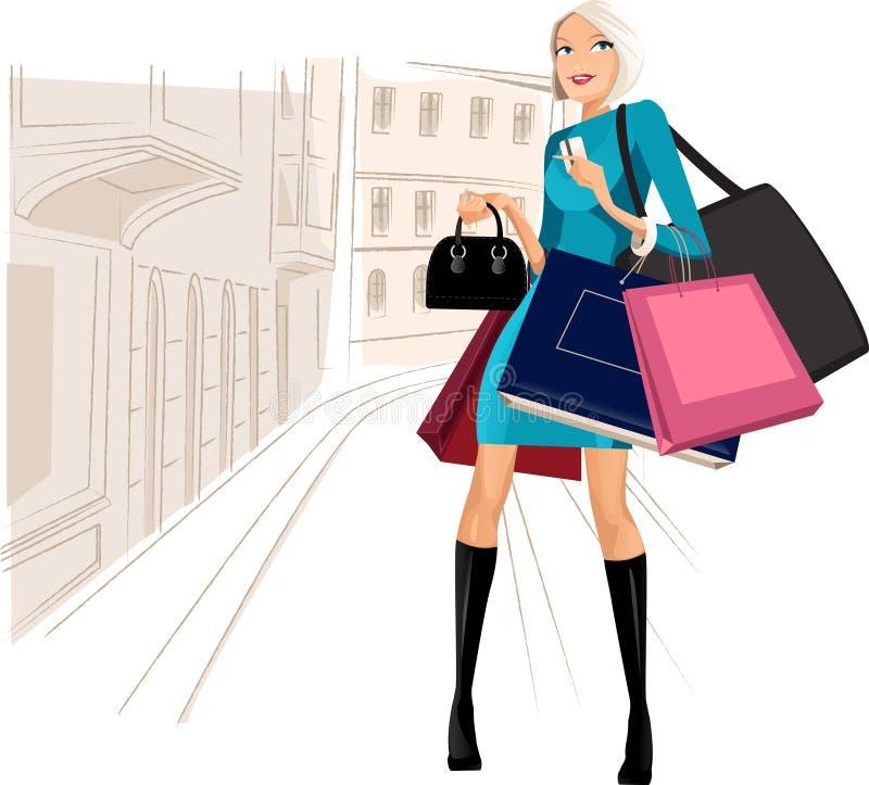 El hacer compras en ciudad libre illustration