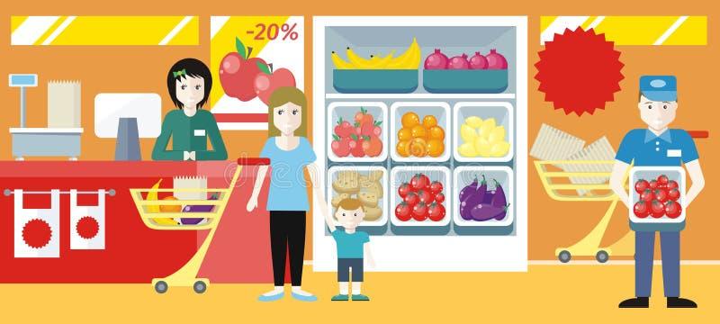 El hacer compras en el ejemplo del concepto del colmado stock de ilustración