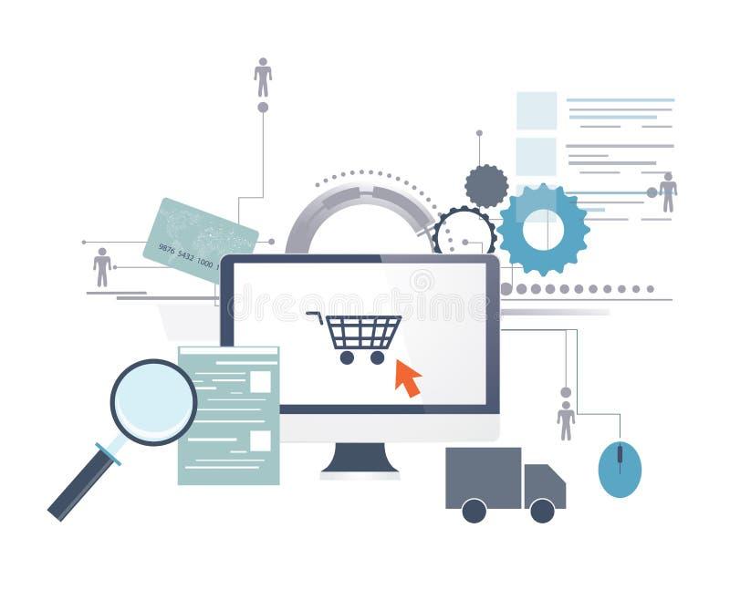 El hacer compras en línea libre illustration