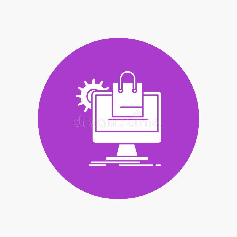 el hacer compras, en línea, comercio electrónico, servicios, icono blanco del Glyph del carro en círculo Ejemplo del bot?n del ve stock de ilustración