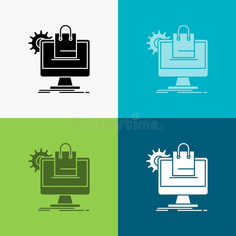 el hacer compras, en línea, comercio electrónico, servicios, icono del carro sobre diverso fondo dise?o del estilo del glyph, dis stock de ilustración