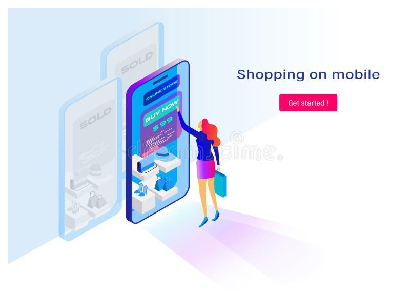 El hacer compras en línea con Smartphone Miniatura plana de la historieta presentación del fondo Gráfico de vector ilustración del vector