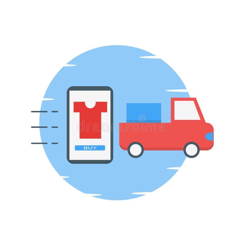 El hacer compras en línea en el ejemplo de la aplicación móvil - vector ilustración del vector