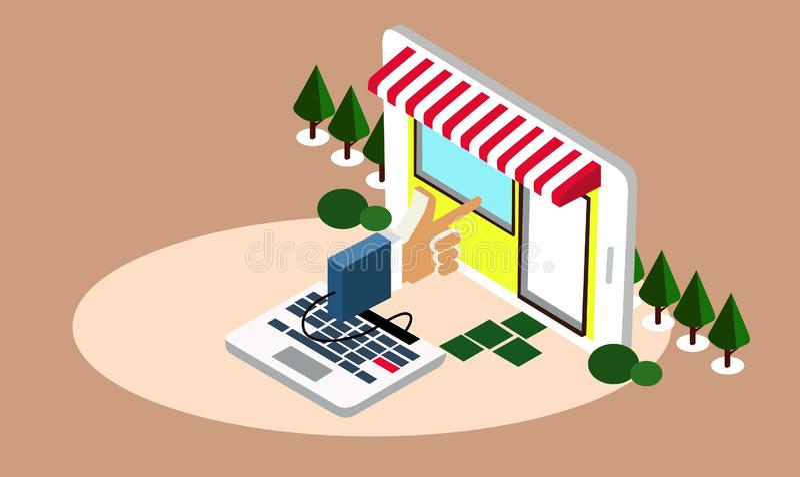 El hacer compras en línea por un tecleo ilustración del vector