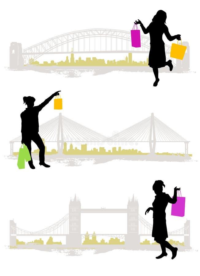 El hacer compras en la ciudad stock de ilustración