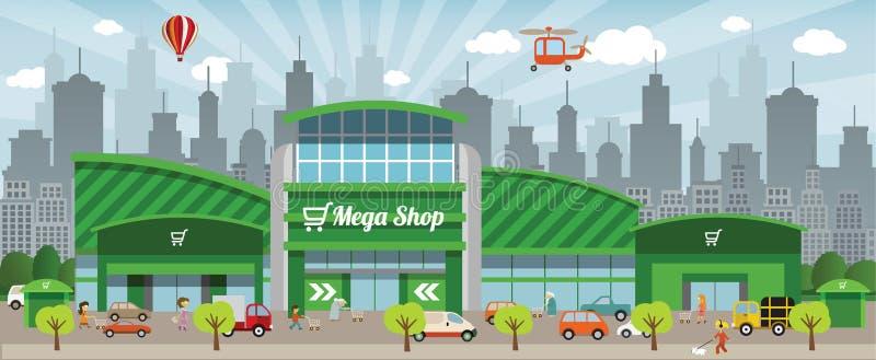 El hacer compras en la ciudad libre illustration