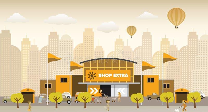 El hacer compras en la ciudad (colores retros) stock de ilustración