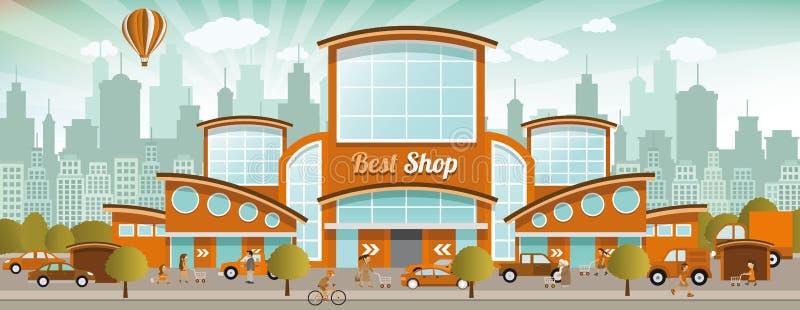 El hacer compras en la ciudad (colores retros) libre illustration