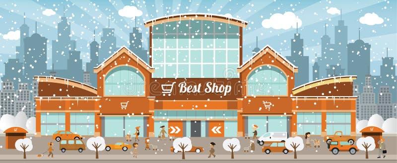 El hacer compras en la ciudad (invierno) ilustración del vector