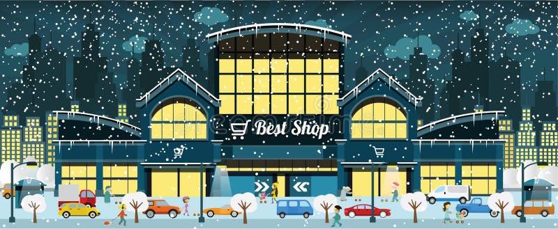 El hacer compras en la ciudad (invierno) libre illustration