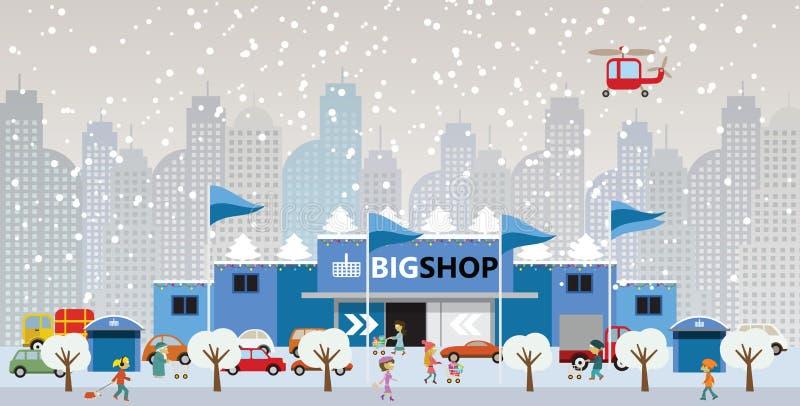 El hacer compras en la ciudad (la Navidad) ilustración del vector