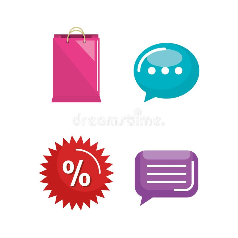 El hacer compras en la línea iconos determinados libre illustration