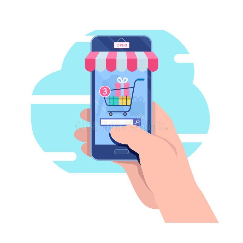 El hacer compras en móvil Tienda en línea Márketing de Internet El hacer compras en línea Gráfico de vector plano del ejemplo del ilustración del vector