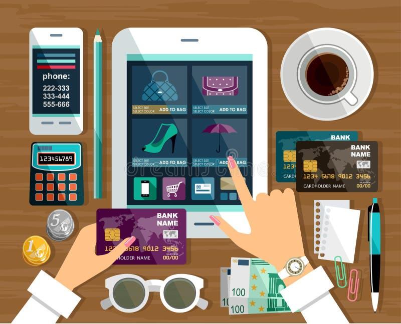 El hacer compras en tienda en línea libre illustration