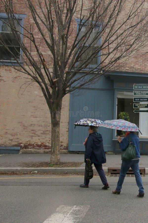 El hacer compras en una tarde lluviosa de la primavera foto de archivo