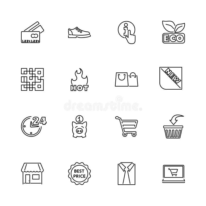 El hacer compras - iconos planos del vector stock de ilustración