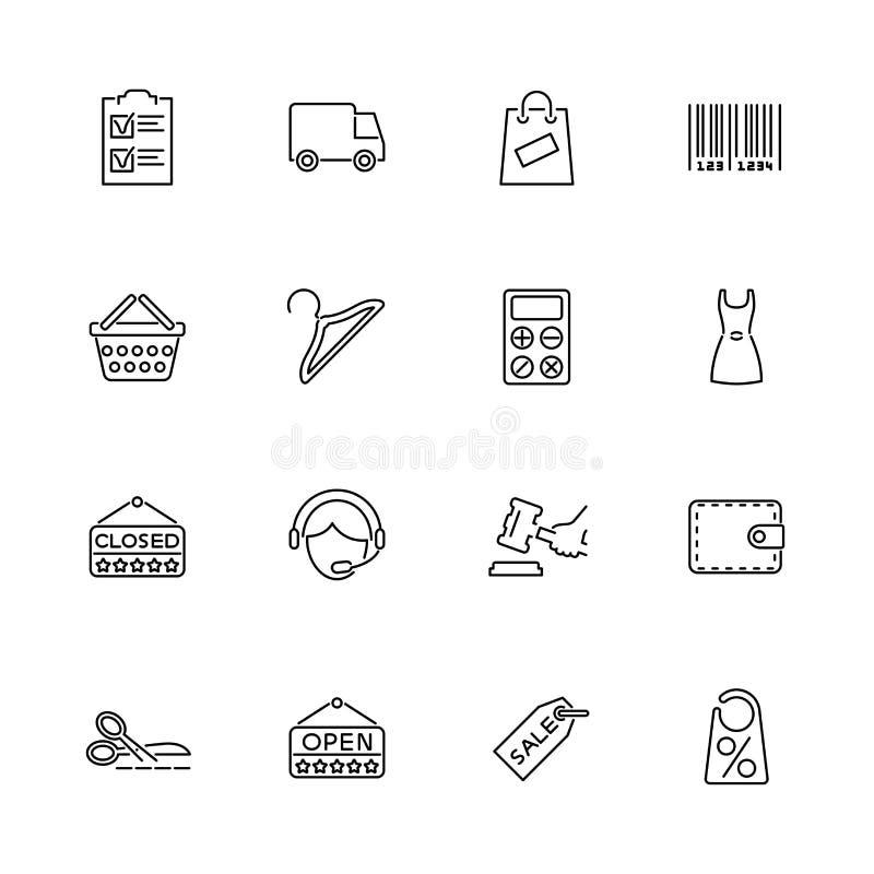 El hacer compras - iconos planos del vector ilustración del vector