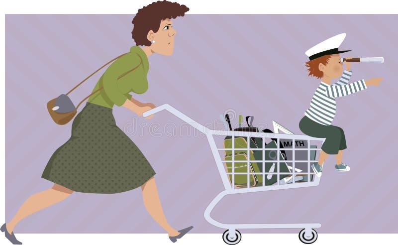 El hacer compras para las fuentes de escuela stock de ilustración