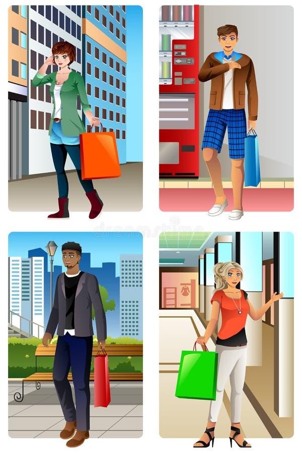 El hacer compras que va de la gente en una alameda stock de ilustración